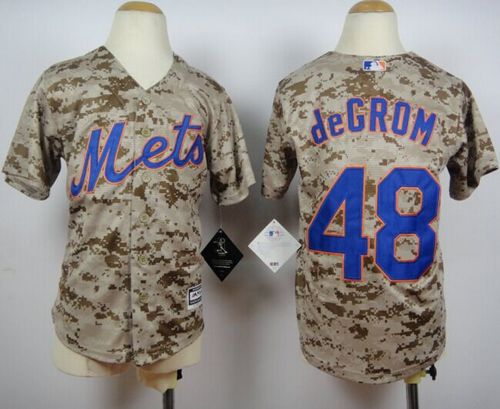 Mets #48 Jacob DeGrom Camo Alternate Cool Base Stitched Youth MLB Jersey