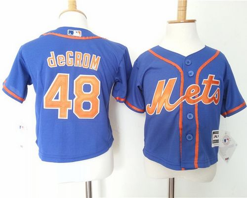 Toddler Mets #48 Jacob DeGrom Blue Alternate Home Cool Base Stitched MLB Jersey