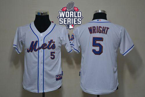 Mets #5 David Wright White Cool Base W/2015 World Series Patch Stitched Youth MLB Jersey
