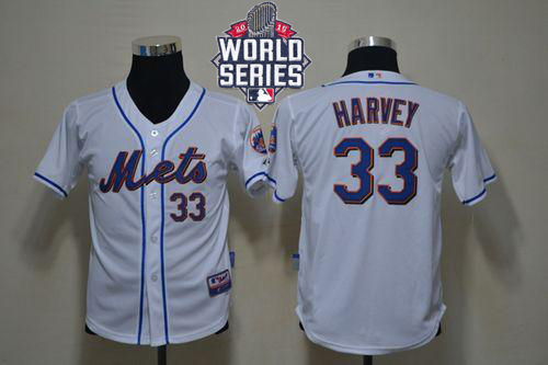 Mets #33 Matt Harvey White Cool Base W/2015 World Series Patch Stitched Youth MLB Jersey