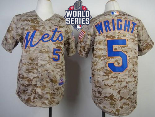 Mets #5 David Wright Camo Alternate Cool Base W/2015 World Series Patch Stitched Youth MLB Jersey