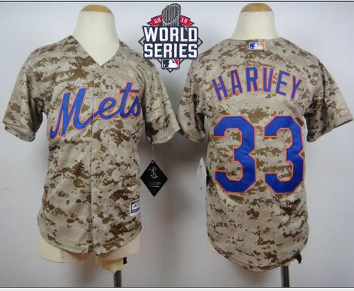 Mets #33 Matt Harvey Camo Alternate Cool Base W/2015 World Series Patch Stitched Youth MLB Jersey