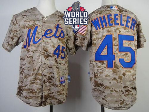 Mets #45 Zack Wheeler Camo Alternate Cool Base W/2015 World Series Patch Stitched Youth MLB Jersey
