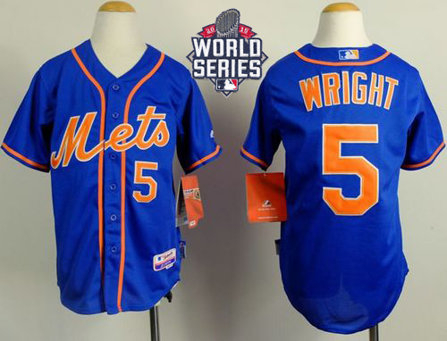 Mets #5 David Wright Blue Alternate Home Cool W/2015 World Series Patch Stitched Youth MLB Jersey