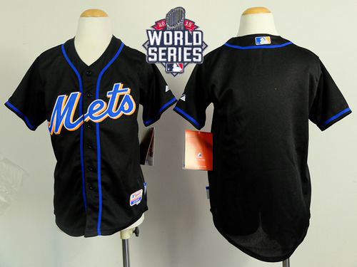 Mets Blank Black Cool Base W/2015 World Series Patch Stitched Youth MLB Jersey