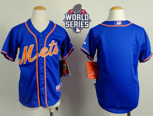 Mets Blank Blue Alternate Home Cool Base W/2015 World Series Patch Stitched Youth MLB Jersey