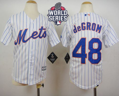Mets #48 Jacob DeGrom White(Blue Strip) Home Cool Base W/2015 World Series Patch Stitched Youth MLB Jersey
