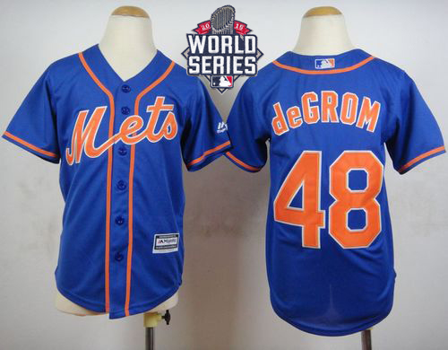 Mets #48 Jacob DeGrom Blue Alternate Home Cool Base W/2015 World Series Patch Stitched Youth MLB Jersey
