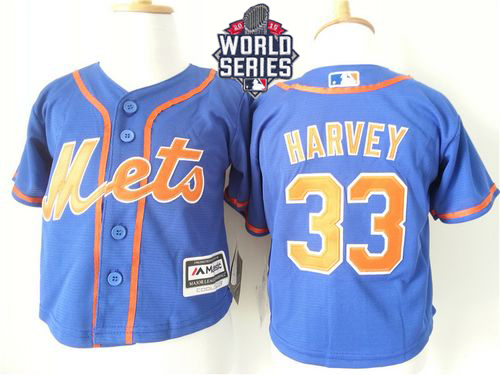 Toddler Mets #33 Matt Harvey Blue Alternate Home Cool Base W/2015 World Series Patch Stitched MLB Jersey