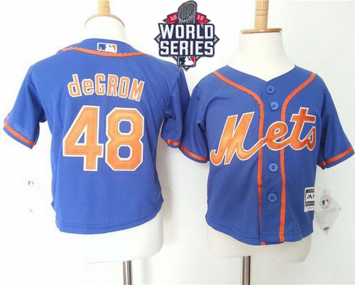Toddler Mets #48 Jacob DeGrom Blue Alternate Home Cool Base W/2015 World Series Patch Stitched MLB Jersey