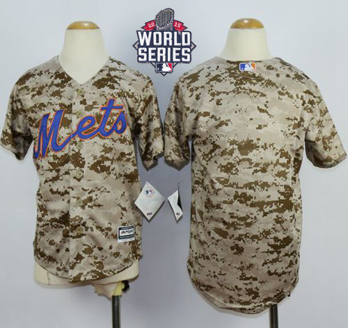 Mets Blank Camo Alternate Cool Base W/2015 World Series Patch Stitched Youth MLB Jersey