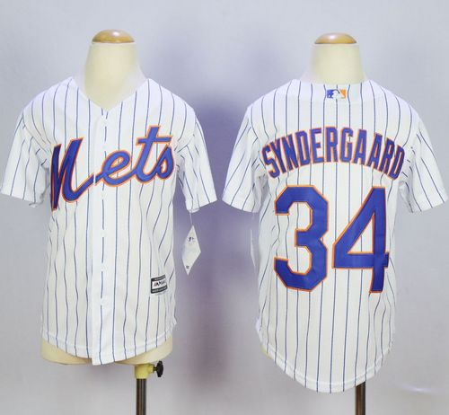 Mets #34 Noah Syndergaard White(Blue Strip) Home Cool Base Stitched Youth MLB Jersey