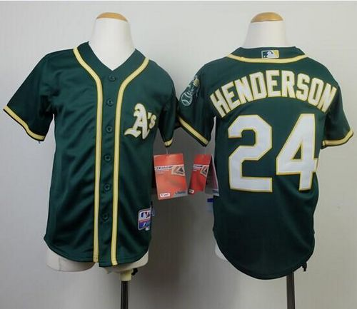 Athletics #24 Rickey Henderson Green Cool Base Stitched Youth MLB Jersey
