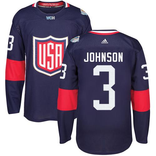 Team USA #3 Jack Johnson Navy Blue 2016 World Cup Stitched Youth NHL Jersey