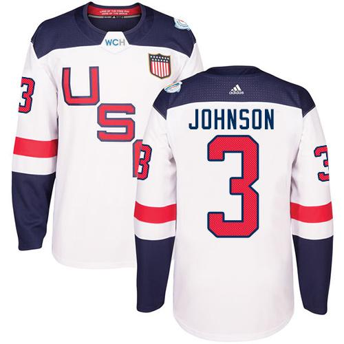 Team USA #3 Jack Johnson White 2016 World Cup Stitched Youth NHL Jersey