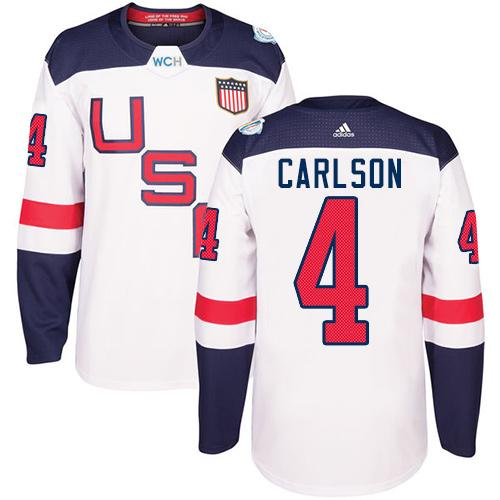 Team USA #4 John Carlson White 2016 World Cup Stitched Youth NHL Jersey