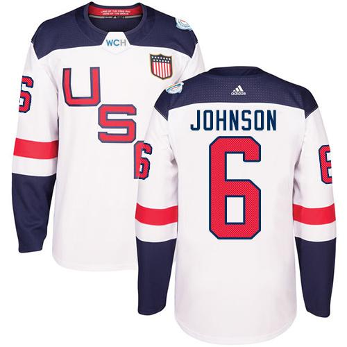 Team USA #6 Erik Johnson White 2016 World Cup Stitched Youth NHL Jersey