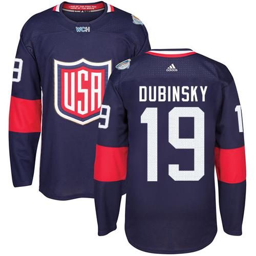 Team USA #19 Brandon Dubinsky Navy Blue 2016 World Cup Stitched Youth NHL Jersey