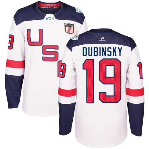 Team USA #19 Brandon Dubinsky White 2016 World Cup Stitched Youth NHL Jersey