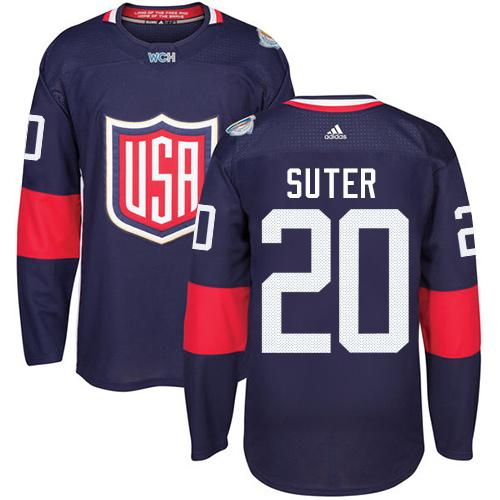 Team USA #20 Ryan Suter Navy Blue 2016 World Cup Stitched Youth NHL Jersey