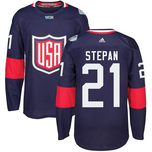 Team USA #21 Derek Stepan Navy Blue 2016 World Cup Stitched Youth NHL Jersey