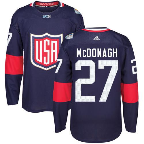Team USA #27 Ryan McDonagh Navy Blue 2016 World Cup Stitched Youth NHL Jersey