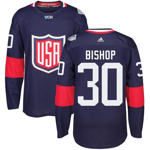 Team USA #30 Ben Bishop Navy Blue 2016 World Cup Stitched Youth NHL Jersey