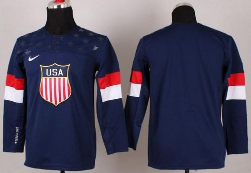 2014 Olympic Team USA Blank Navy Blue Stitched Youth NHL Jersey