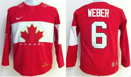 Team Canada 2014 Olympic #6 Shea Weber Red Stitched Youth NHL Jersey