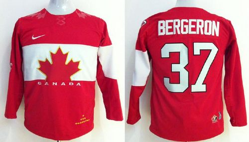 Team Canada 2014 Olympic #37 Patrice Bergeron Red Stitched Youth NHL Jersey