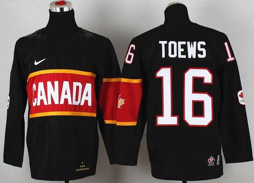 Team Canada 2014 Olympic #16 Jonathan Toews Black Stitched Youth NHL Jersey