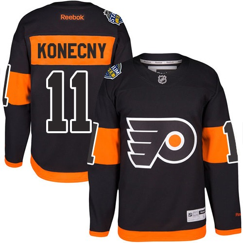 Flyers #11 Travis Konecny Black 2017 Stadium Series Stitched Youth NHL Jersey