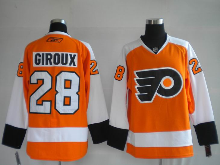 Flyers #28 Claude Giroux Orange Stitched Youth NHL Jersey