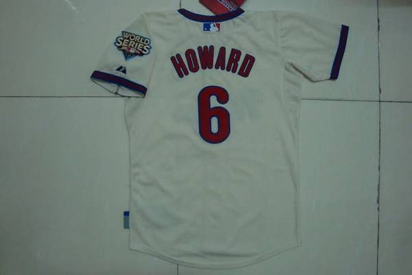 Phillies #6 Ryan Howard Stitched Cream Youth MLB Jersey
