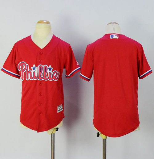 Phillies Blank Red Alternate Cool Base Stitched Youth MLB Jersey