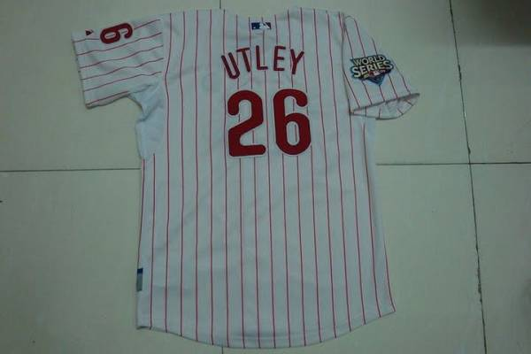 Phillies #26 Chase Utley Stitched White Red Strip Youth MLB Jersey