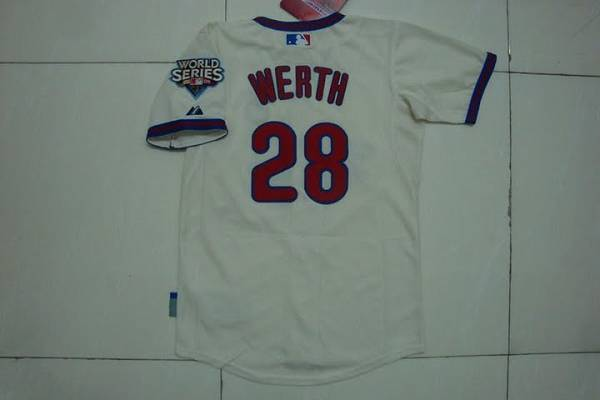 Phillies #28 Jayson Werth Stitched Cream Youth MLB Jersey