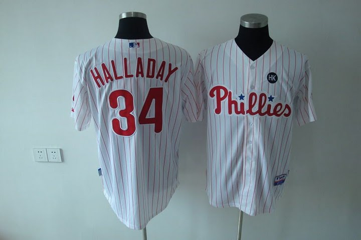 Phillies #34 Roy Halladay Stitched White Red Strip Youth MLB Jersey
