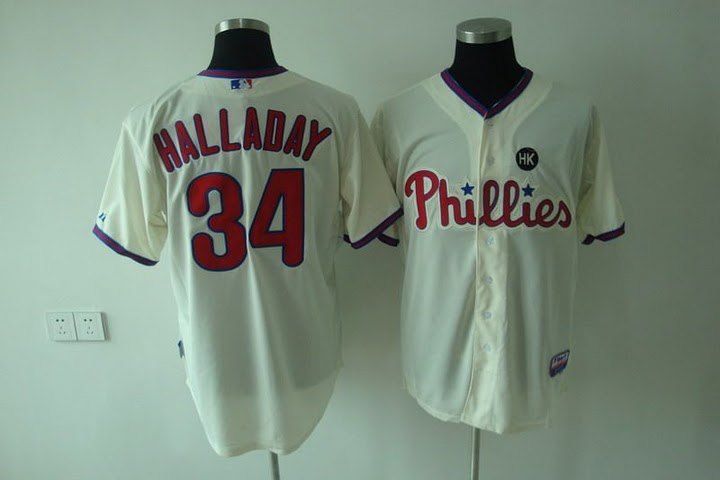 Phillies #34 Roy Halladay Stitched Cream Youth MLB Jersey