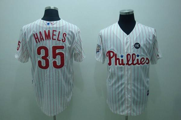 Phillies #35 Cole Hamels Stitched White Red Strip Youth MLB Jersey