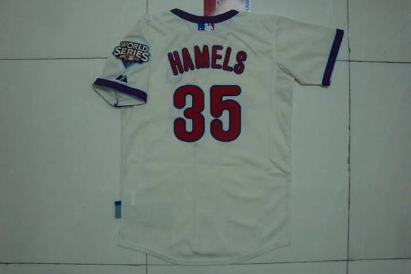 Phillies #35 Cole Hamels Stitched Cream Youth MLB Jersey