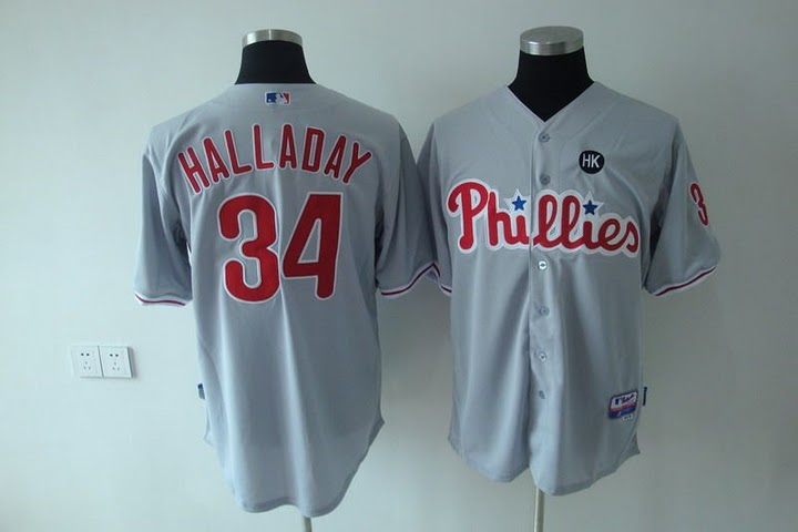 Phillies #34 Roy Halladay Stitched Grey Youth MLB Jersey