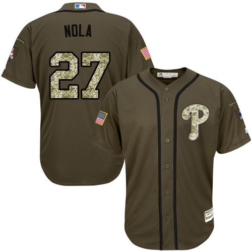 Phillies #27 Aaron Nola Green Salute to Service Stitched Youth MLB Jersey