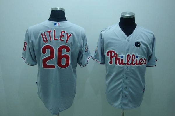 Phillies #26 Chase Utley Grey Stitched Youth MLB Jersey