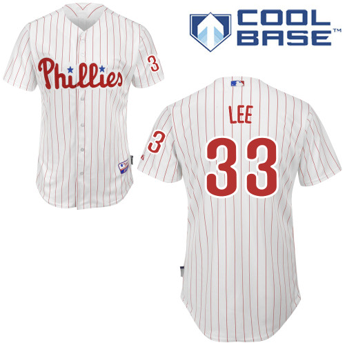 Phillies #33 Cliff Lee White(Red Strip) Cool Base Stitched Youth MLB Jersey