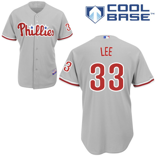 Phillies #33 Cliff Lee Grey Cool Base Stitched Youth MLB Jersey