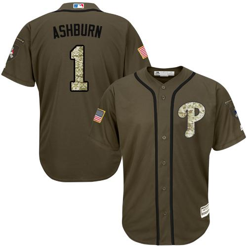Phillies #1 Richie Ashburn Green Salute to Service Stitched Youth MLB Jersey