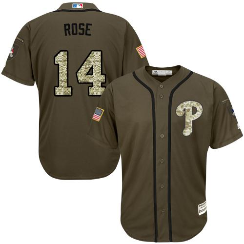 Phillies #14 Pete Rose Green Salute to Service Stitched Youth MLB Jersey