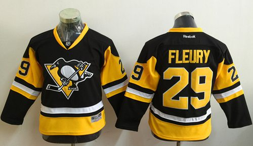 Penguins #29 Marc-Andre Fleury Black Alternate Stitched Youth NHL Jersey