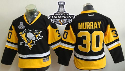 Penguins #30 Matt Murray Black Alternate 2016 Stanley Cup Champions Stitched Youth NHL Jersey